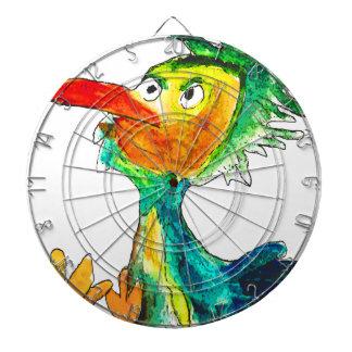 Cartoon bird paint dartboard with darts