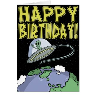 Cartoon Birthday Card: Out of this world Card