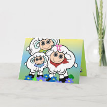 Cartoon birthday card with sheep family