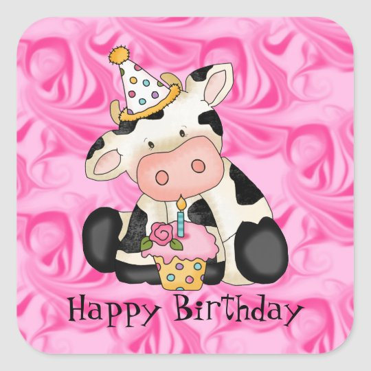 Cartoon Birthday Cow Party Sticker
