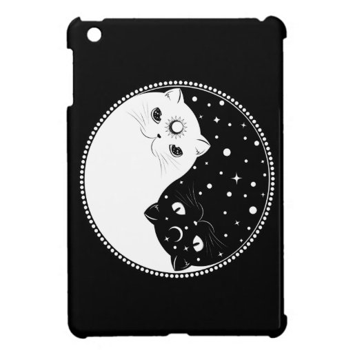 Cartoon black and white cats, yin yang sign case for the iPad mini