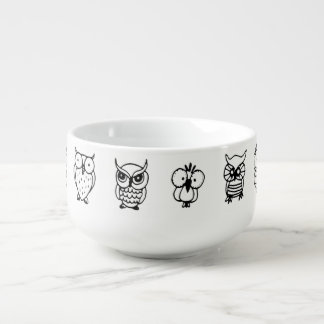 cartoon black and white owls soup mug