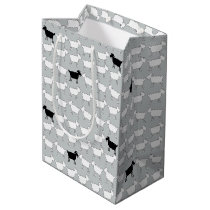 Cartoon black and white sheep mono gift bag