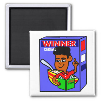 Cartoon Black Boy on Breakfast Cereal Box 2 Inch Square Magnet