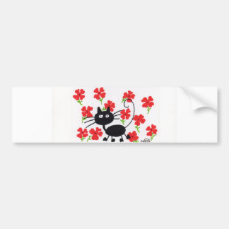 Cartoon Black Cat and red flowers Bumper Sticker