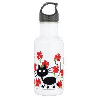 Cartoon Black Cat and red flowers 18oz Water Bottle