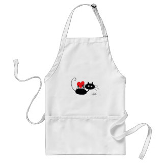 Cartoon Black Cat and red heart Adult Apron