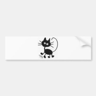 Cartoon Black Cat Bumper Sticker