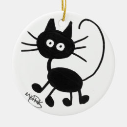 Cartoon Black Cat Ceramic Ornament