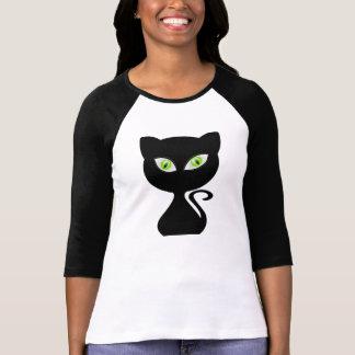 Cartoon Black Cat Green Eyes for T-shirt Women