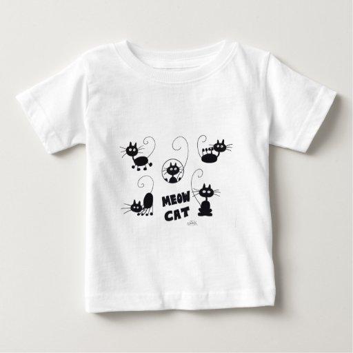 Cartoon Black Cat - lots of meows T Shirt