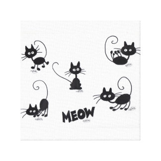 Cartoon Black Cat on Canvas