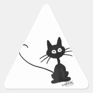 Cartoon Black Cat Triangle Sticker
