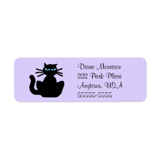 Cartoon Black Cat with Blue Eyes Lavender Return Label