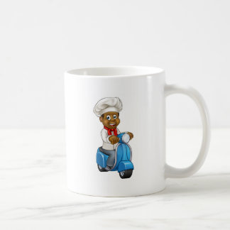 Cartoon Black Chef Delivery Moped Coffee Mug
