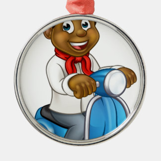 Cartoon Black Chef Delivery Moped Metal Ornament