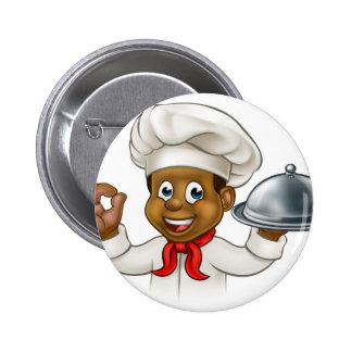 Cartoon Black Chef Holding Plate or Platter Button