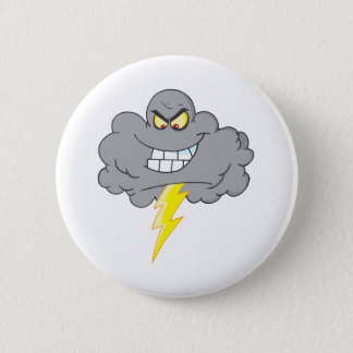 Cartoon Black Cloud With Lightning Button