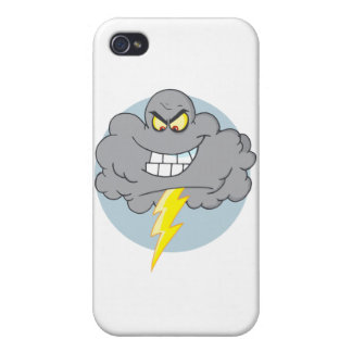 Cartoon Black Cloud With Lightning iPhone 4/4S Cover