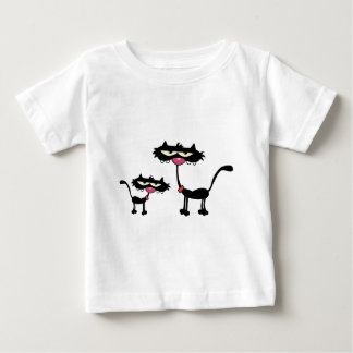 Cartoon Black Father and Son Cats Tshirts