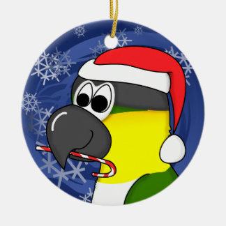 Cartoon Black Headed Caique Christmas Ornament