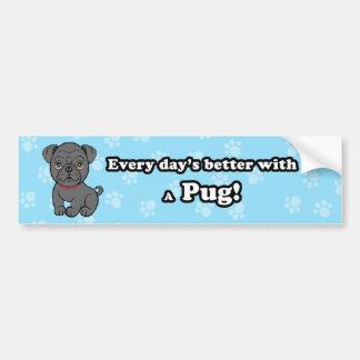 Cartoon Black Pug Bumper Sticker