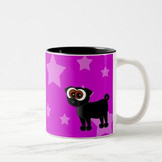 Cartoon Black Pug Coffee Mug