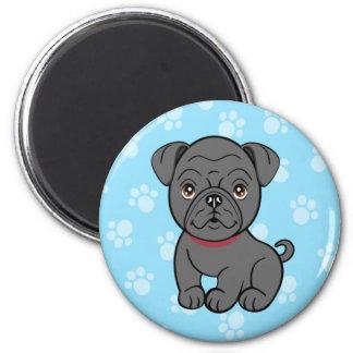 Cartoon Black Pug Magnet