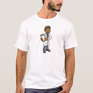 Cartoon Black Scientist or Lab Tech Character T-Shirt