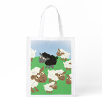 Cartoon Black Sheep in the Flock Grocery Bag