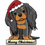 "Cartoon Black &amp; Tan Cavalier Christmas Ornament<br><div class=""desc"">Cute Black and Tan Cavalier King Charles Spaniel Christmas Ornament features the toy breed wearing a red Santa hat. The sign underneath him reads,  &quot;Merry Christmas!&quot; Adorable Cavalier King Charles Spaniel Xmas ornaments for dog owners!</div>"
