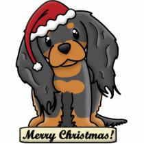 Cartoon Black & Tan Cavalier Christmas Ornament