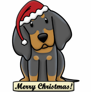 Cartoon Black & Tan Coonhound Christmas Ornament