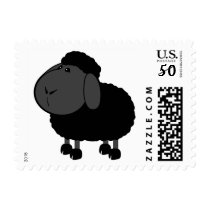 Cartoon Black Wool Sheep Farm Animal Stamp