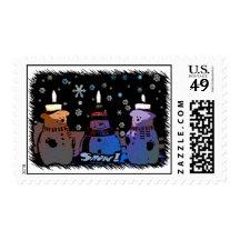 Cartoon Blizzard Snowmen Snow! Postage Stamps