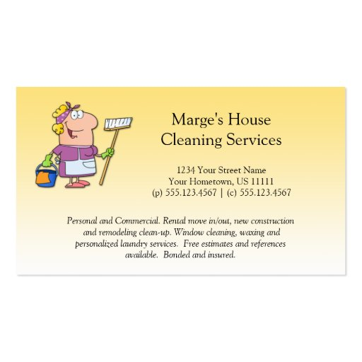 Cartoon blonde house cleaning lady loyalty busines for Cartoon business cards