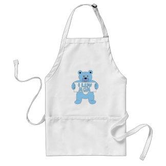 Cartoon Blue Bear I Luv Mom (I Love Mom) Adult Apron