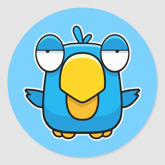 Cartoon Blue Bird Classic Round Sticker