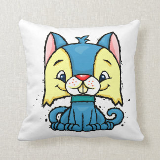 cartoon blue cat throw pillow