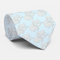 Cartoon Blue Chinese Year of the Pig Neck Tie