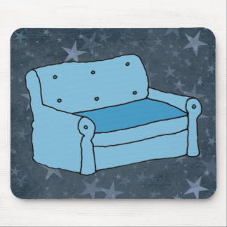 Cartoon Blue Couch Computer Mousepad
