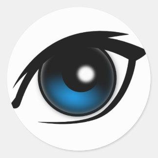Cartoon blue eye classic round sticker