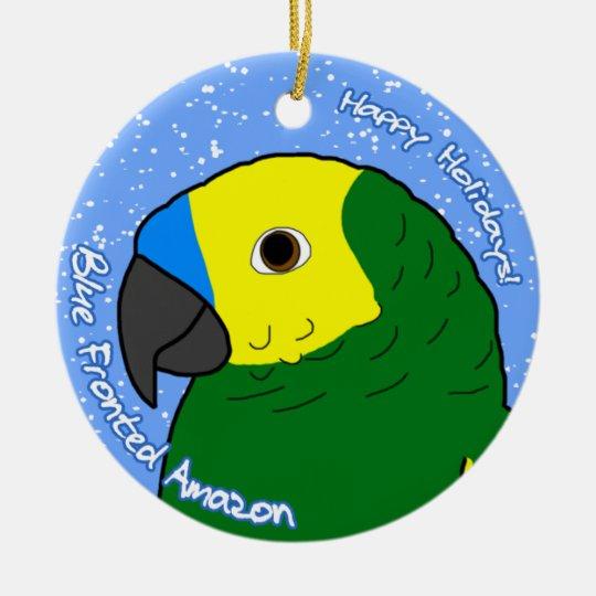 Cartoon Blue Fronted Amazon Christmas Ornament