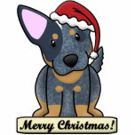 "Cartoon Blue Heeler Christmas Ornament<br><div class=""desc"">Adorable Blue Heeler Christmas Ornament featuring the dog breed wearing a Santa hat. The sign underneath him reads,  &quot;Merry Christmas!&quot; Cute Australian Cattle Dog drawing will look adorable on your Xmas tree!</div>"