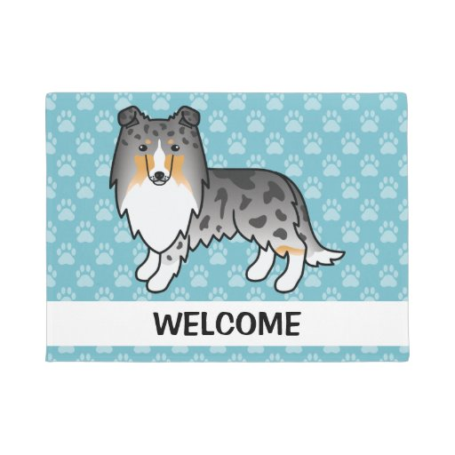 Zazzle Cartoon Blue Merle Rough Collie With Welcome Text ...