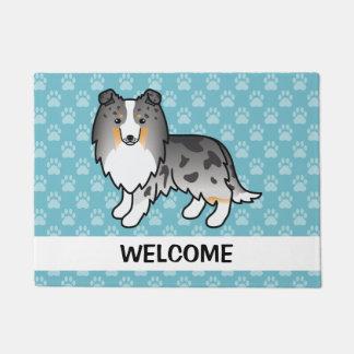 Cartoon Blue Merle Sheltie Dog With Welcome Text Doormat