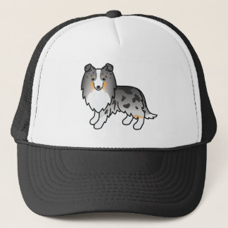 Cartoon Blue Merle Shetland Sheepdog Trucker Hat