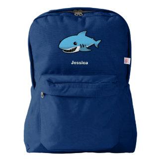 cartoon blue shark american apparel™ backpack