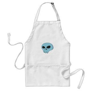 cartoon blue skull adult apron