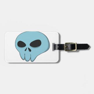 cartoon blue skull bag tag